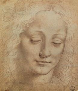 ЛЕОНАРДО ДА ВИНЧИ. Эскизы женских головок (10 рисунков).