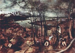 """Питер Брейгель Старший. Цикл """"Двенадцать месяцев"""". 1565. """"Пасмурный день"""". Цитируется """"Потерянный рай"""" Мильтона..."""