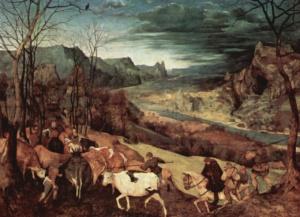 """Питер Брейгель Старший. Цикл """"Двенадцать месяцев"""". 1565. """"Возвращение стада"""". Цитируется """"Потерянный рай"""" Мильтона..."""