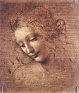 """ЛЕОНАРДО ДА ВИНЧИ. Рисунок женской головы к """"Мадонна в скалах"""". 1475-1480."""