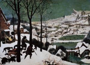 """Питер Брейгель Старший. Цикл """"Двенадцать месяцев"""". 1565. """"Охотники на снегу"""". Картина эта признана в Истории искусств одним из величайших шедевров мировой пейзажной живописи."""