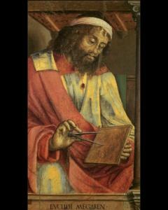 """Эвкли́д (ок. 300 г. до н. э., Александрия) — древнегреческий математик, автор первого из дошедших до нас теоретических трактатов по математике: планиметрии, стереометрии и вопросам теории чисел. Прозван историей """"Отцом геометрии""""."""
