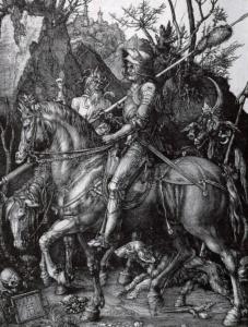 """Альбрехт Дюрер. """"Рыцарь, Смерть и Дьявол"""". 1513. Патетическая условность великого немца не останавливает его внимания. Образы насилия и страдания он принимает как мучительную житейскую реальность..."""