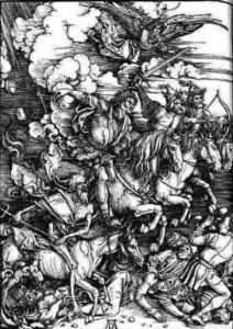 """Альбрехт Дюрер. """"Четыре всадника Апокалипсиса"""". 1498."""