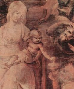 """ЛЕОНАРДО ДА ВИНЧИ. Фрагмент """"Поклонения волхвов"""". 1472 - 1477. Уффицы во Флоренции."""