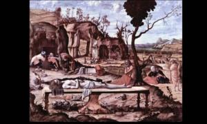"""Витторе Карпаччо, Мертвый Христос 1520. Государственный музей, Берлин. В работах более поздних художников сюжет, утратив свою многозначность, преобразится в """"Снятие с креста""""."""