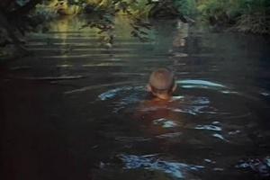 Картина счастья: Алексей плавает по-собачьи, Мать чуть выше по течению стирает в протоке белье. Это - счастье, конечно, но - неполное, судя по стихам Отца...
