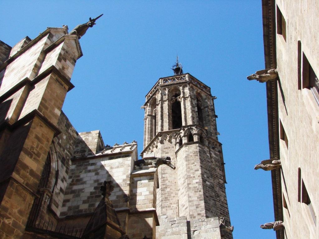 В 1298 году граф Барселоны приказал возвести Кафедральный собор. Не прошло и 150 лет, как приказ был выполнен. Значит, горгульи на соборе появились не позже 1450 года. И единорог, и слон, и идальго. Компанию справа пока не замечаю...