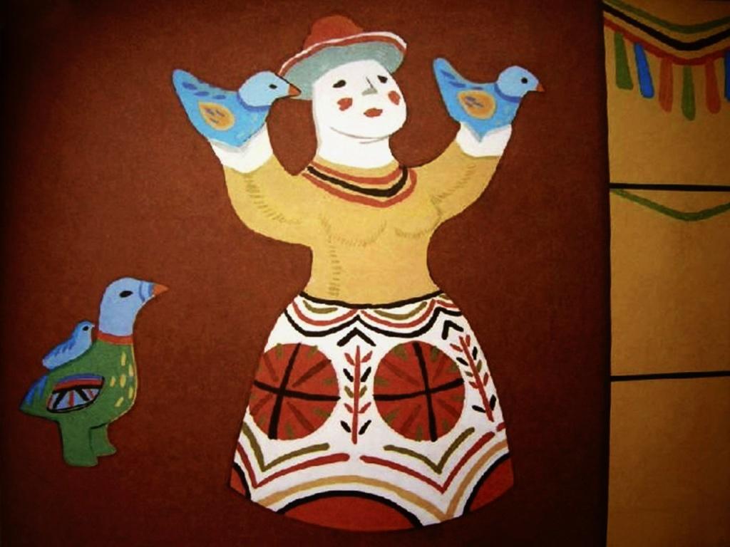 """Каргопольские игрушки из глины - XX век. """"БЕРЕГИНЯ"""" или """"МАТЬ-СЫРА-ЗЕМЛЯ"""". То - глиняная баба с головой, увенчанной """"солнцем"""", с воздетыми к небу руками и с птицами - молениями о вешних лучах солнца, о свете и тепле..."""