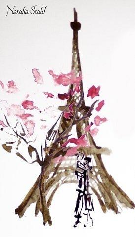 """Прекрасным дамам следует преподносить подарки в знак признания. Не успела я отвлечься ненадолго, как """"Прекрасная парижанка"""" тут же получила акварель Натальи Шталь, преподнесенную Зоей Адриановой. Спасибо - отвечаю за нее..."""