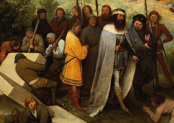 """Питер Брейгель Старший. """"Большая"""" Вавилонская Башня. 1563 г. Фрагмент картины - царь Вавилона Нимрод со свитой"""