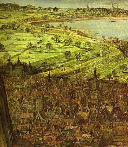 """Питер Брейгель Старший. """"Большая"""" Вавилонская Башня. 1563 г. Фрагмент картины, показывающий город, на который падает тень от Башни, что несравнима с ним по чистоте структуры и размерам..."""