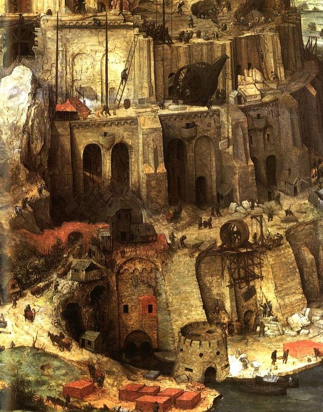 """Питер Брейгель Старший. """"Большая"""" Вавилонская Башня. 1563 г. Фрагмент картины, на котором показан процесс завершения строительства трех нижних ярусов Башни..."""