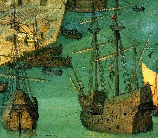 """Питер Брейгель Старший. """"Большая"""" Вавилонская Башня. 1563 г. Фрагмент картины: гавань перед Вавилонской башней."""