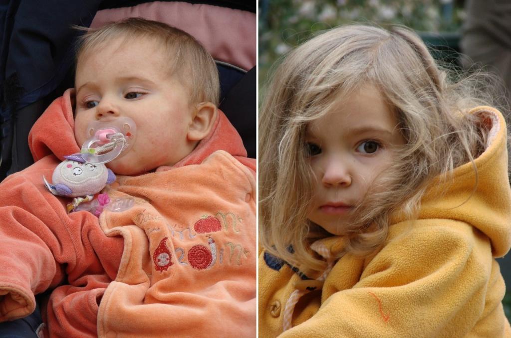 Парижанки. Слева - Эллиа, около года. Справа - Джун, уже три года. Фотографии Марины Бреслав.