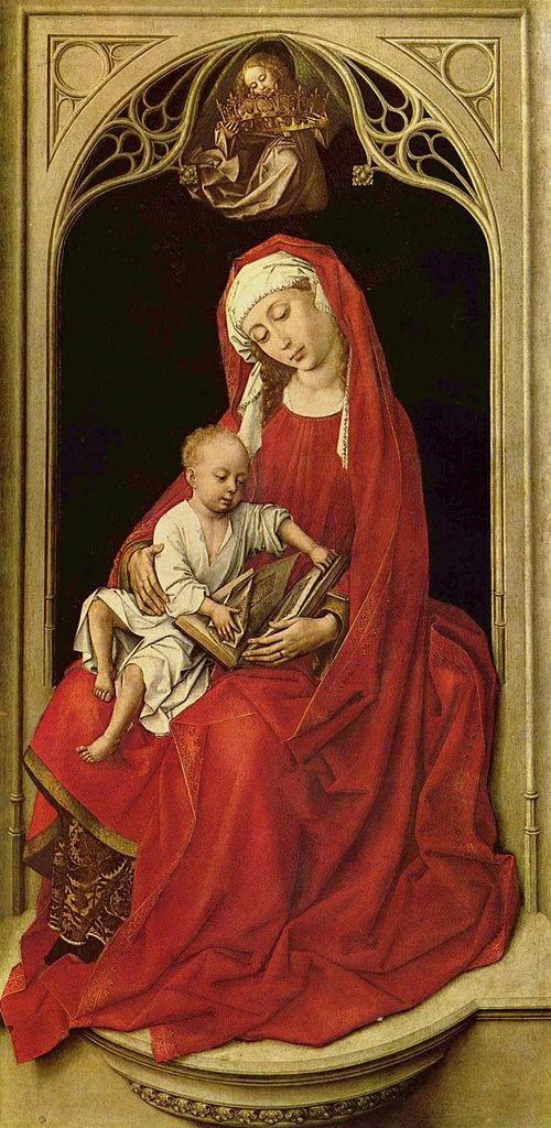 """Рогир ван дер Вейден. Мадонна с младенцем, известная как """"Мадонна Дюрана"""". 1435 - 1438. Музей Прадо в Мадриде."""