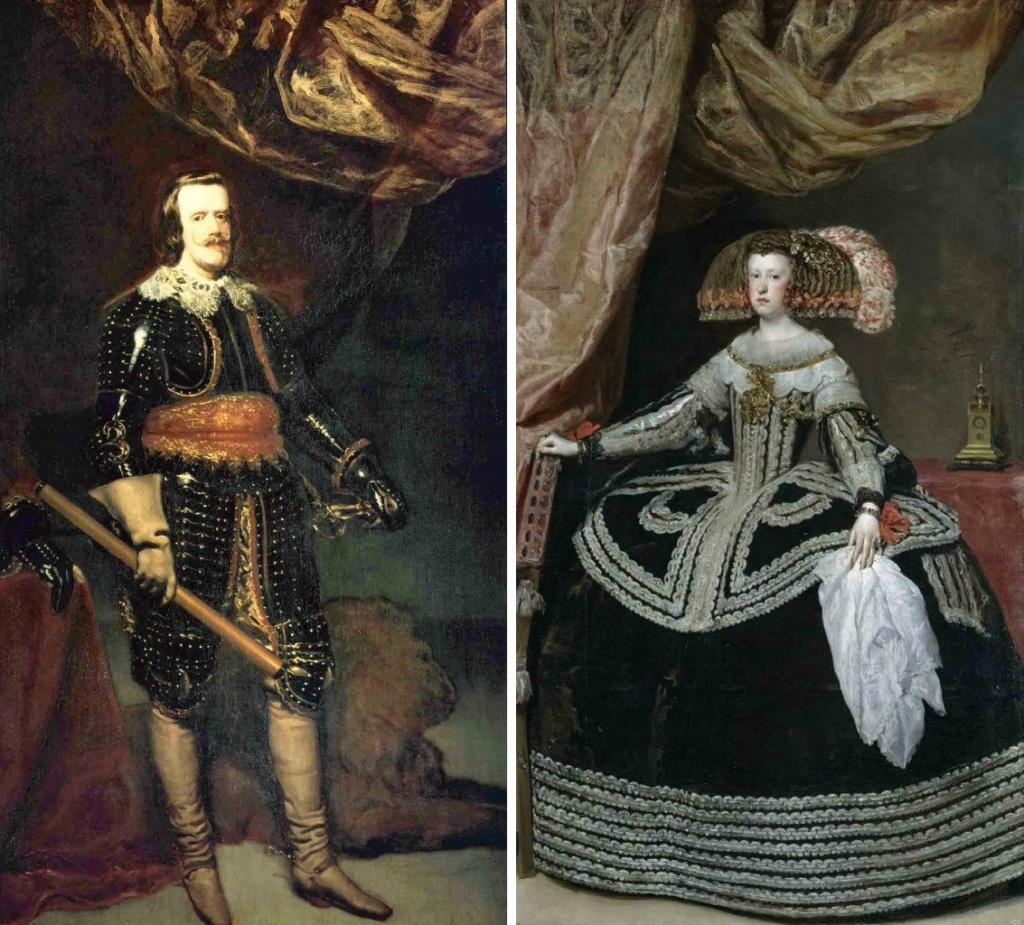 Диего Веласкес. Портреты короля Испании Филиппа IV и его супруги Марианны Австрийской - племяннице, на которой он женился из политических соображений. Въются занавесы над головами, открывая Будущее страны, во благо которой вершится брак...
