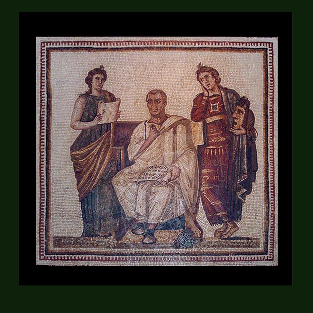 """Мозаика """"Поэт Вергилий, пишущий Энеиду, на троне между двумя музами: музой истории Клио и музой трагедии Мельпоменой"""". От I до III века н.э. Мозаика найдена в Сусе в 1896 году"""