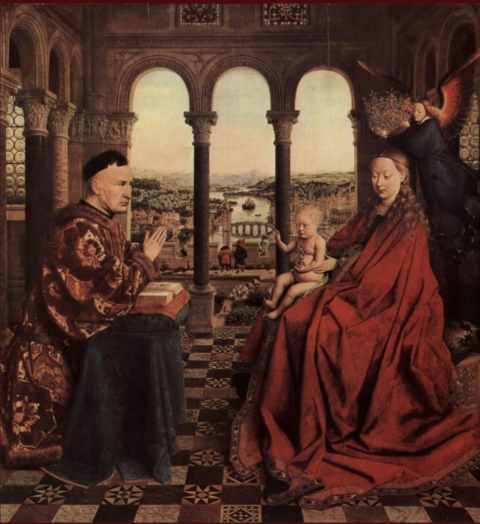 Ян ван Эйк - «Мадонна канцлера Ролена», около 1436. Лувр, Париж.