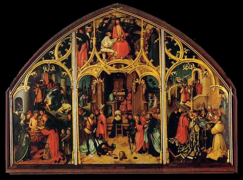 """Ганс Гольбейн Старший. """"Базилика св. Павла"""". 1508 год.  Галерея в Аусбурге"""