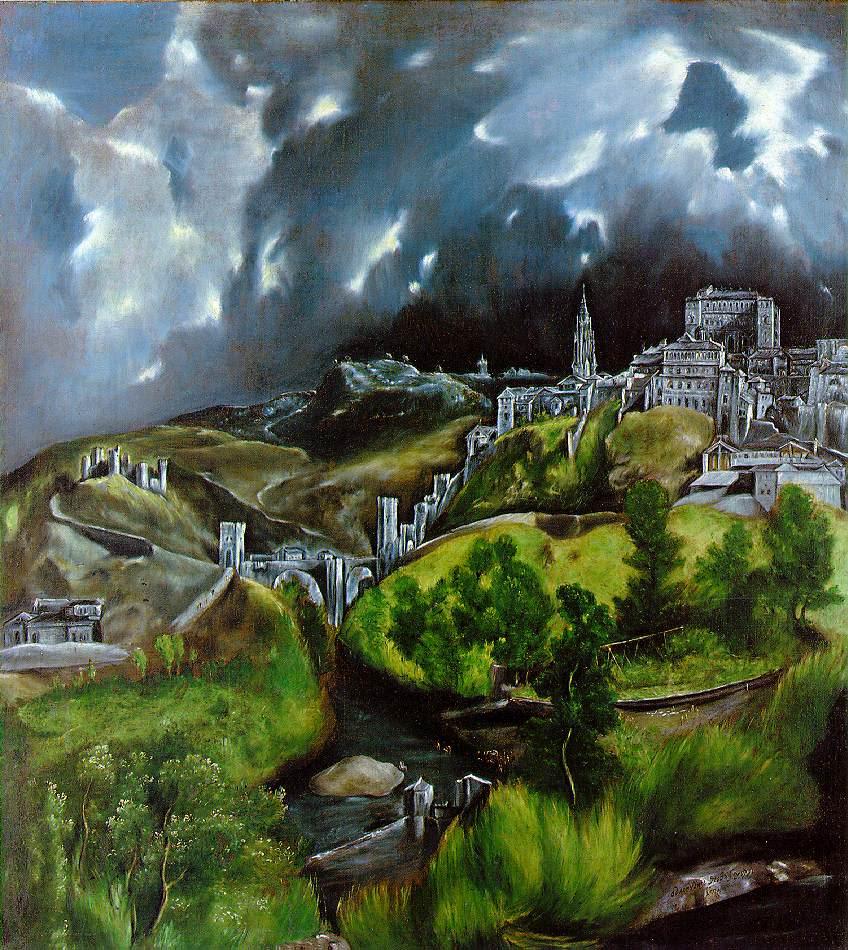 "Эль Греко. ""Вид Толедо"". 1596—1600 Холст, масло. 47,75 × 42,75 см. Музей Метрополитен, Нью-Йорк"