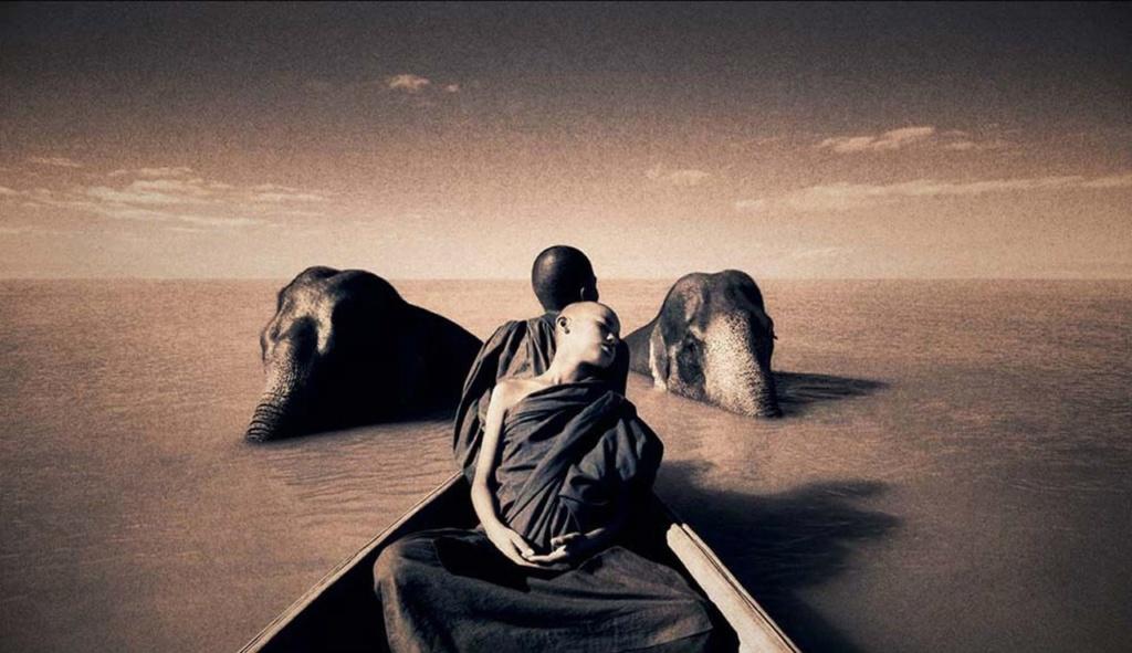 Это - первый магический кадр фантастического фильма. Лодка движется вперед, слоны медленно-медленно поднимаются из вод безграничного океана...