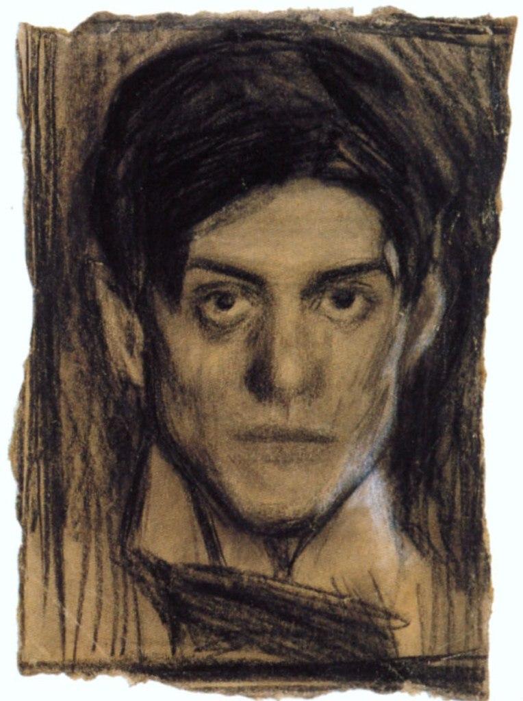 """Пабло Пикассо. """"Меланхолия"""" (Автопротрет в возрасте 14 лет). Во взгляде уже видна еще сдерживаемая дерзновенность. """"В разрушении, так же как и в творчестве, Пикассо не давал себе передышки, он уничтожал себя"""". Карлос Рохас"""