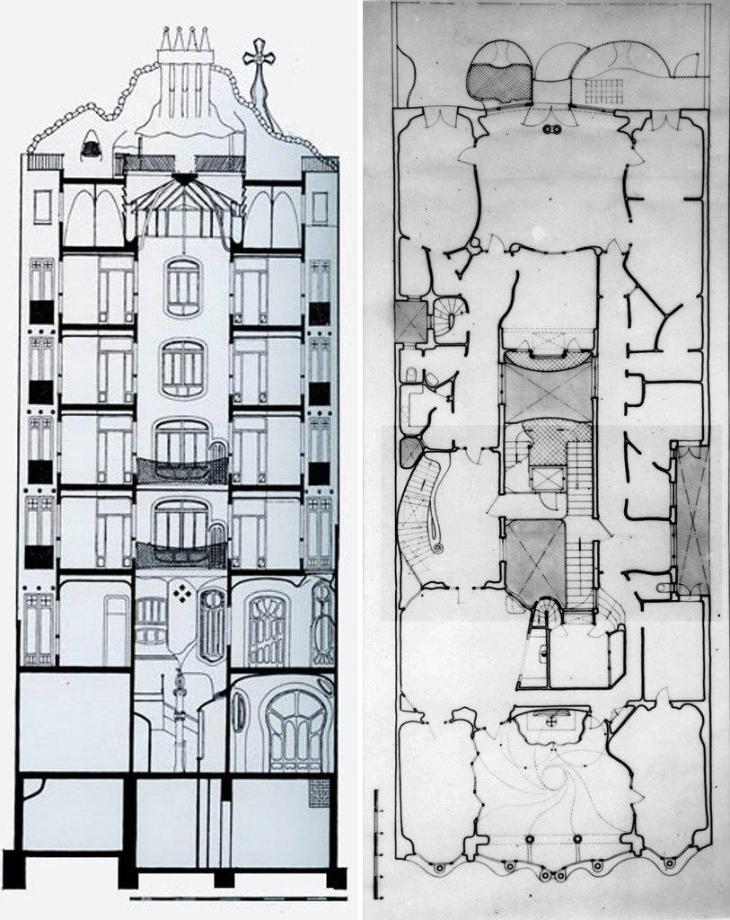 """Барселона. Каса Бальо. Антонио Гауди. 1906. Разрез по дому и план бельэтажа, на котором размещены парадные залы, выходящие на бульвар (внизу - на севере) и в сад на террасе (наверху - на юге). В центре - """"Колодец"""" и вестибюль"""