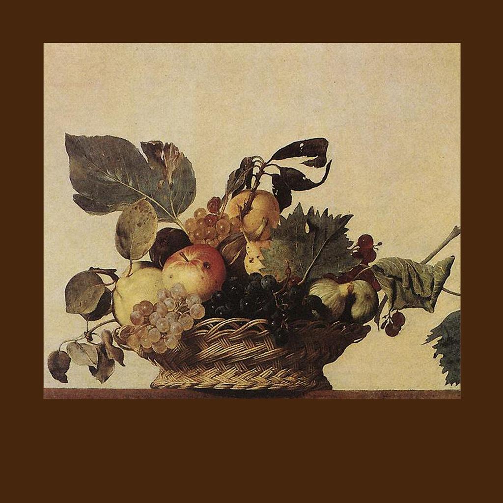 """Караваджо. """"Корзина с фруктами"""". 1596. Первый натюрморт в истории итальянской живописи. Очень """"караваджиевский"""" в сравнении с просто натюрмортом, задача которого как можно красивее изобразить сочетание предметов..."""