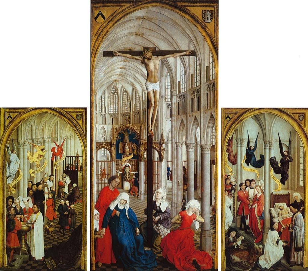 """Рогир ван дер Вейден. Триптих. Семь библейских таинств. 1450. Авторство установлено по сходству главных лиц сцены, представленной на центральной створке, с теми, что изображены на """"Снятии со Креста"""", что имеет точную атрибуцию."""