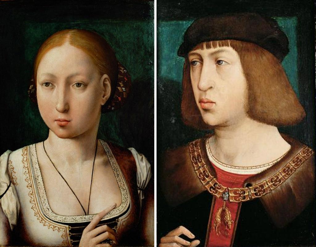 Хуана I Безу́мная ( 1479 — 1555) — королева Кастилии с 1504 по 1555. Герцог Бургундский Филипп Красивый - сын Максимилиана I. Выпив холодной воды после игры в мяч, король простудился и в 1506 году в возрасте двадцати восьми лет скончался.