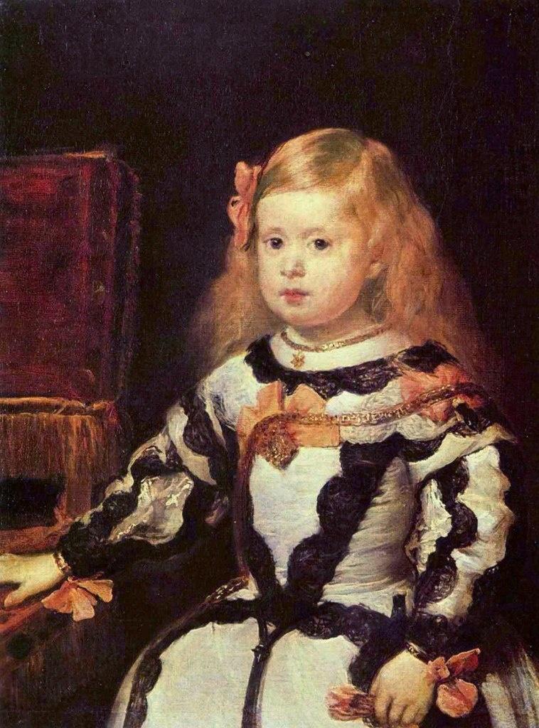 Портрет инфанты Маргариты, Диего Веласкес, 1655, Лувр, Париж Маргарите четыре года. В глазах нарумяненной девочки уже видна обречённость. Кажется, что маленькая модель вот-вот расплачется.