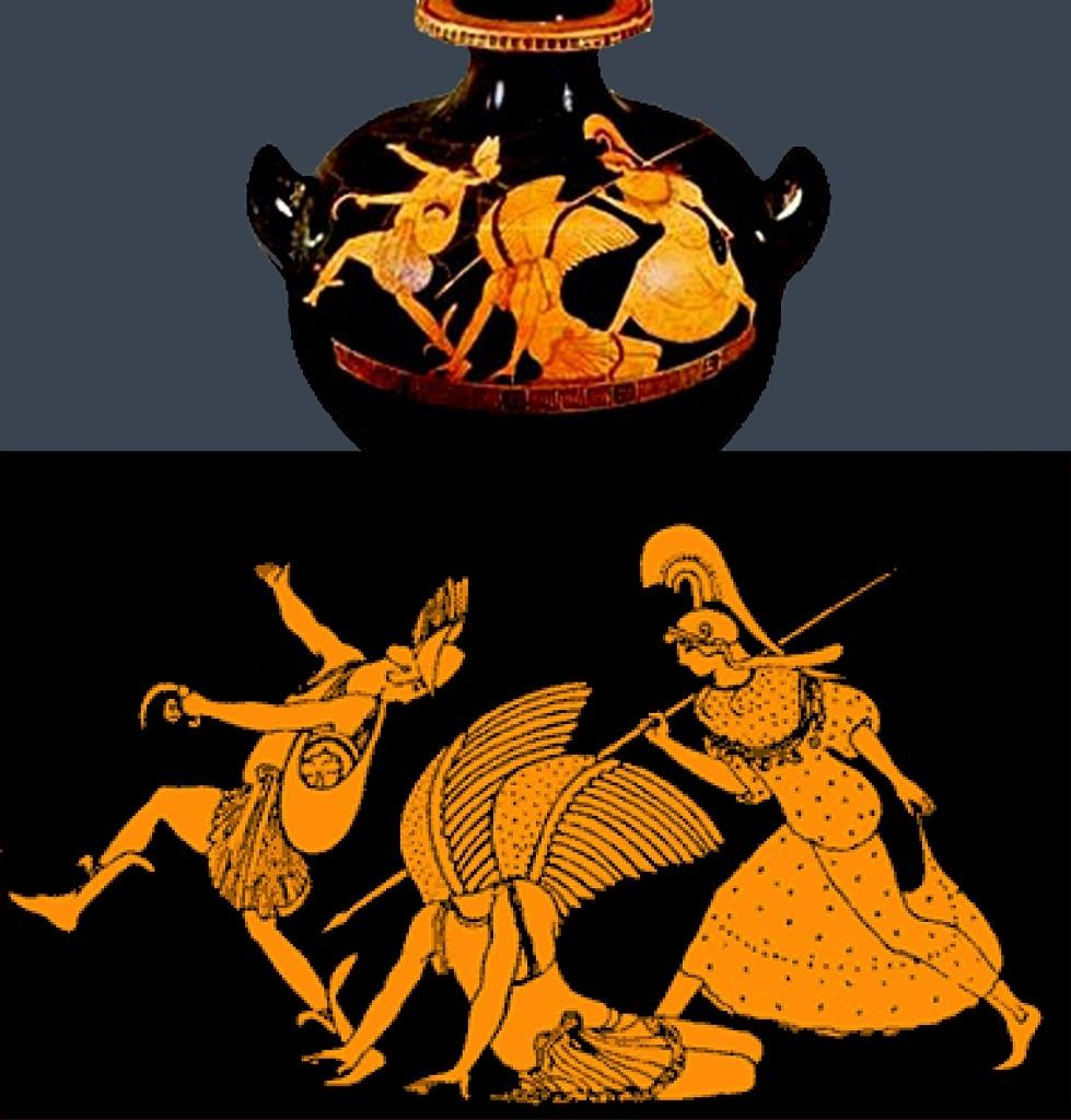 """Античная ваза. """"Персей, уносящий голову Медузы горгоны"""""""