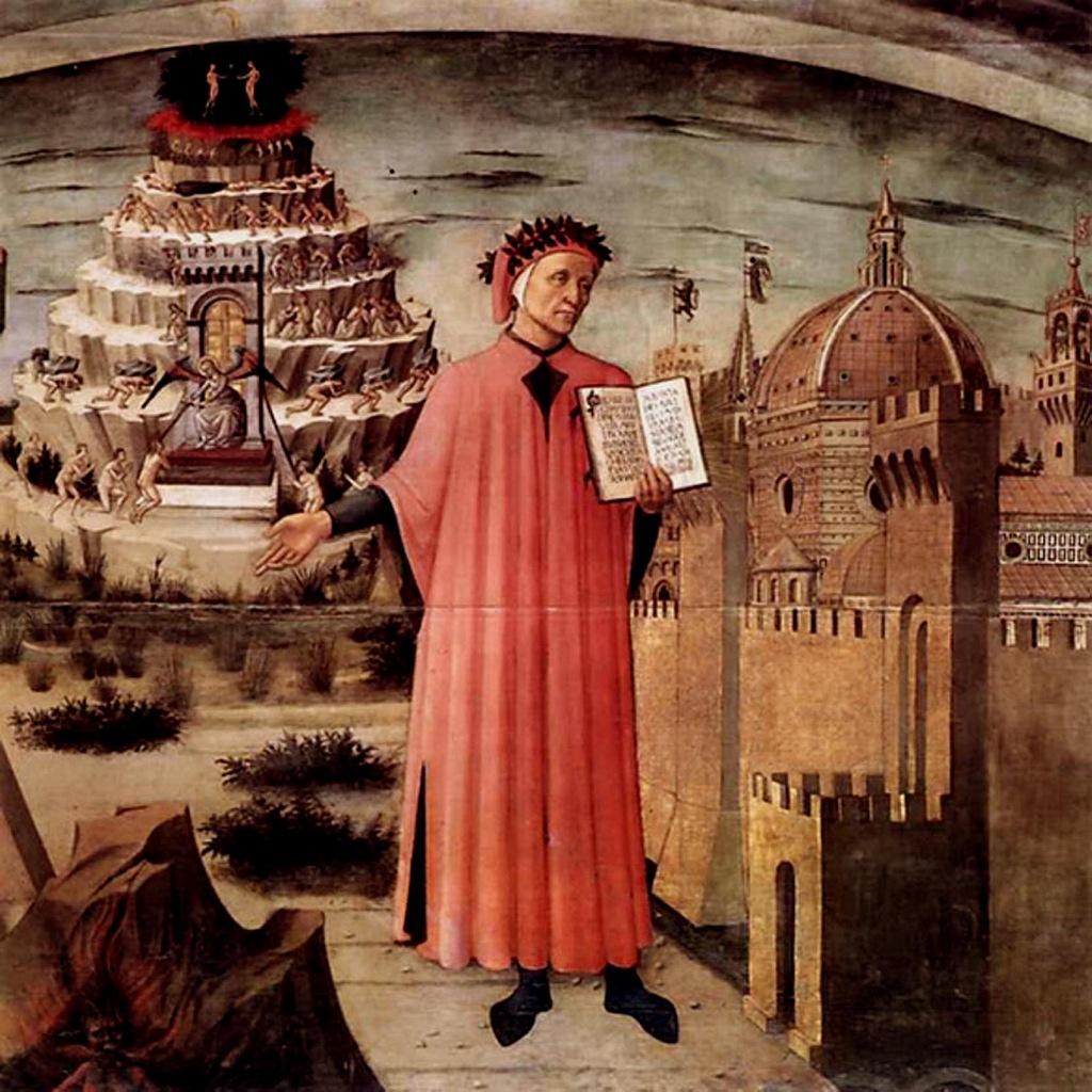 """Доменико ди Микелино. """"Данте, держащий в руках """"Божественную комедию"""". Фреска в храме Санта-Мария дель Фьоре. Флоренция."""