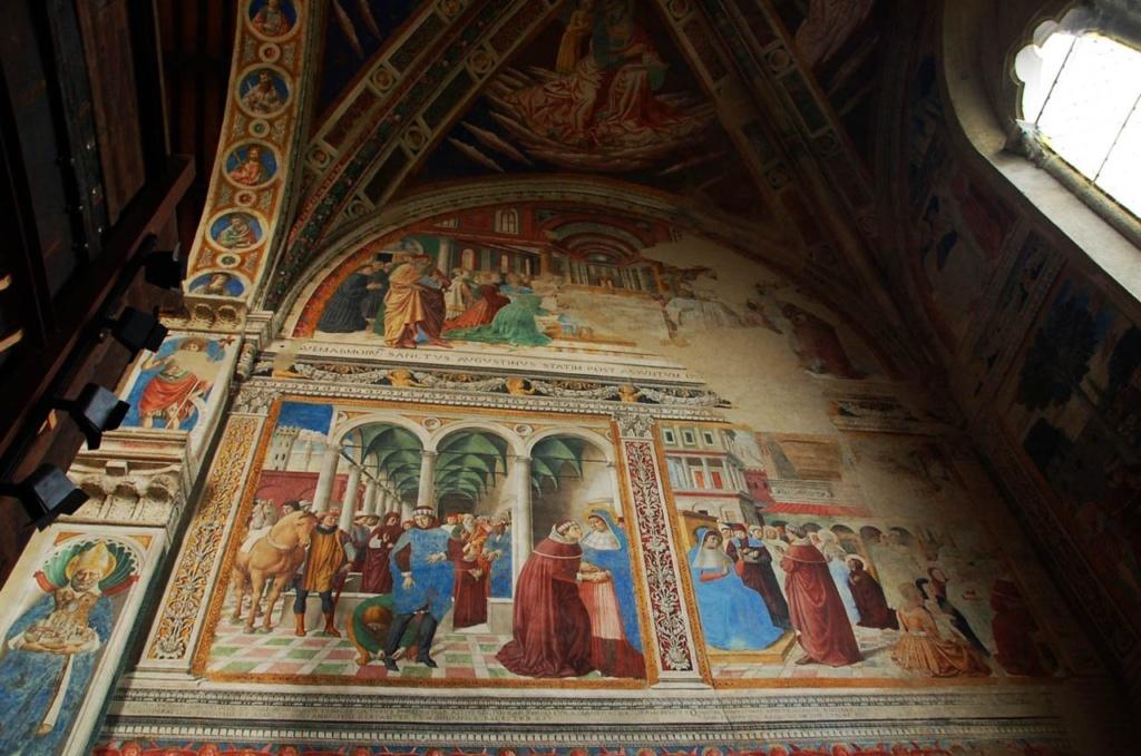 Сан-Джиминьяно, церковь Сант-Агостино. Гоццоли Беноццо (1420-1497). «Жизнь святого Августина» (1464-1465). Северная стена.