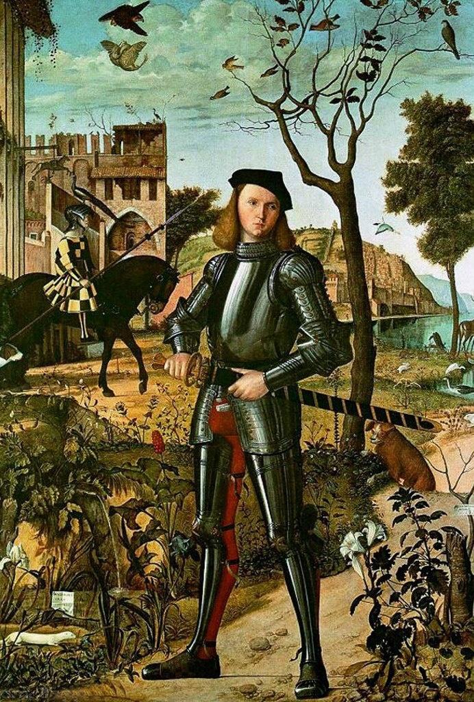 Витторе Карпаччо. Портрет молодого рыцаря на фоне пейзажа. 1510. Музей Тиссен-Борнемиса. Со знанием подлинного натуралиста выписывает Карпаччо каждое растение, наделяя при этом природу символическим и даже геральдическим смыслом.