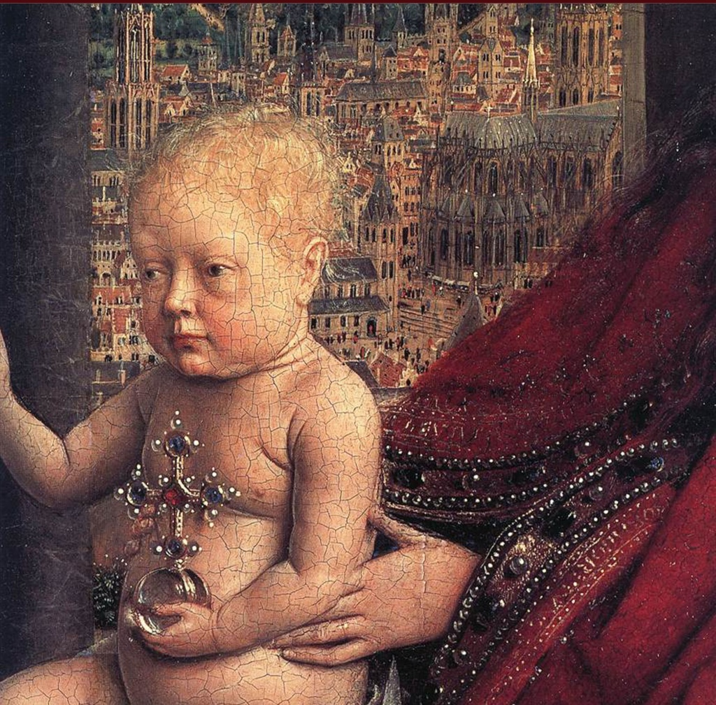 Ян ван Эйк. «Мадонна канцлера Ролена». Около 1436 года. Лувр, Париж.
