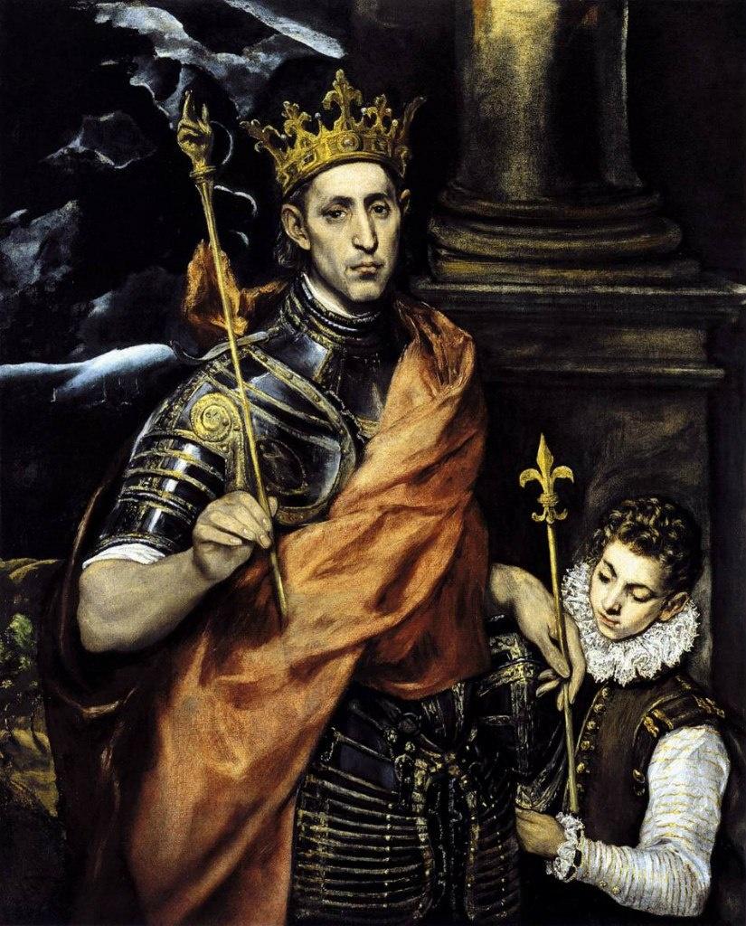 Людовик Святой, король Франции с пажем. Эль Греко. 1592-1595.  Музей Лувр, Париж.