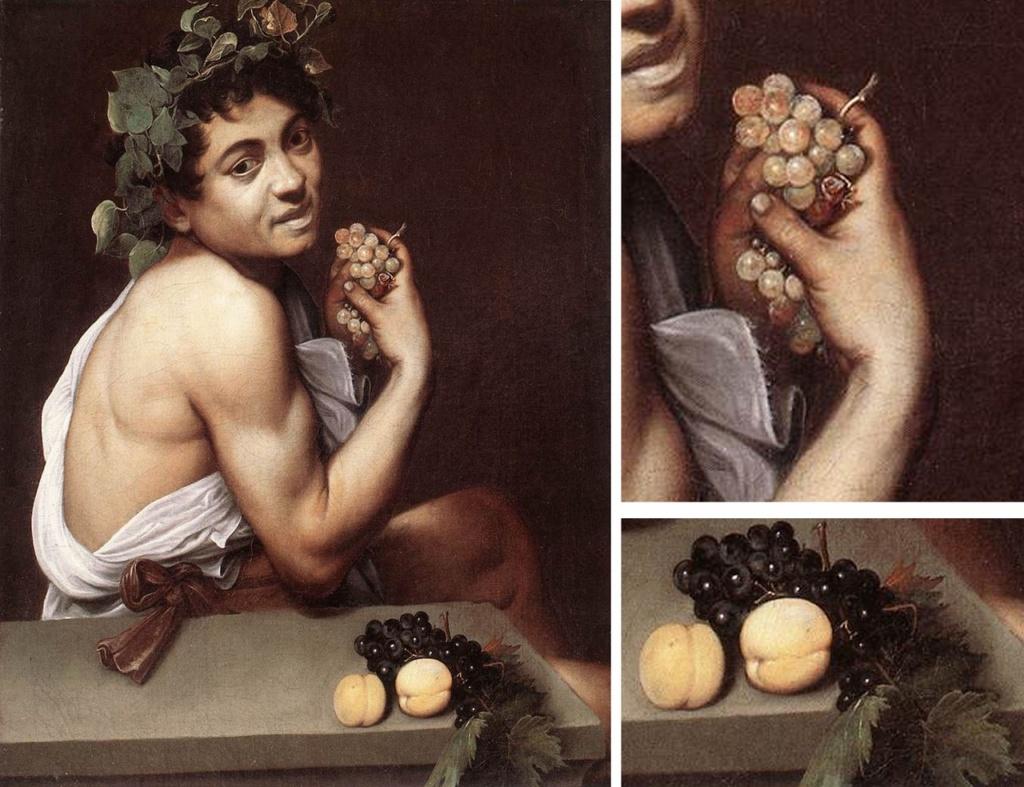 """Караваджо. """"Маленький больной Вакх"""". 1593. Галерея Боргезе, Рим. «Больной Вакх» признан автопортретом Караваджо. Говорят, не имея возможности оплачивать модели, художник писал  себя самого, глядя на свое отражение в зеркале."""