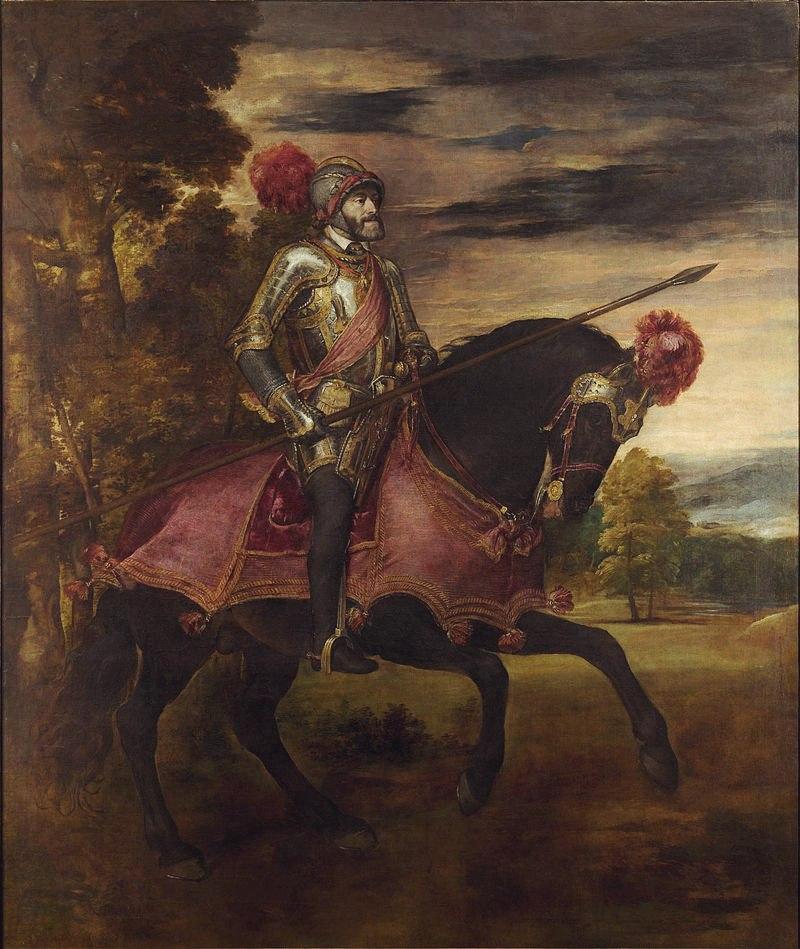 Тициан Вечеллио. Конный портрет Карла V. 1548 год. Прадо, Мадрид Заказана после победы в сражении под Мюльбергом как олицетворение могущества Карла V. Cтала символом династии Габсбургов. И сейчас картина считается образцом парадного портрета.