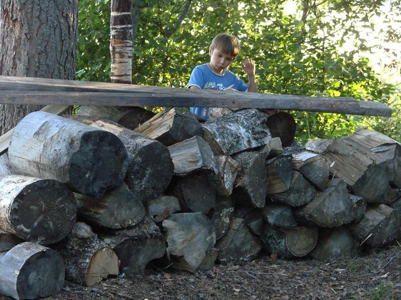 Есть проблемы. Например, колоть огромные бревна на дрова для костра. Это берет на себя хозяин нашей Морщихинской избы Александр. Даниил за чем-то своим наблюдает.