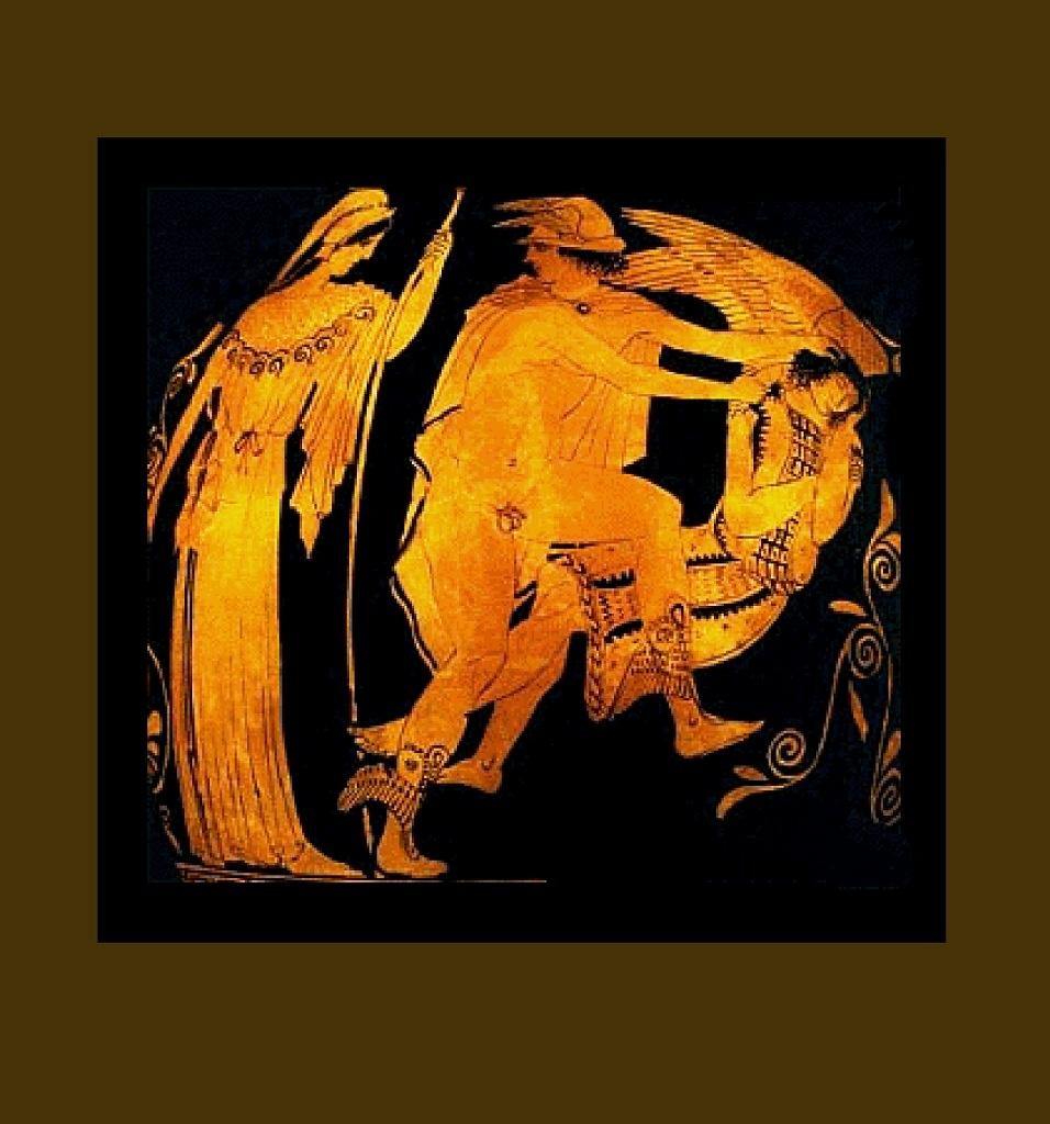 """Античная ваза. """"Афина, Персей и Медуза"""", свидетельствующая о том, что младшая горгона, как и ее сестры, была прекрасной женщиной с лебедиными крыльями в пол неба каждое..."""