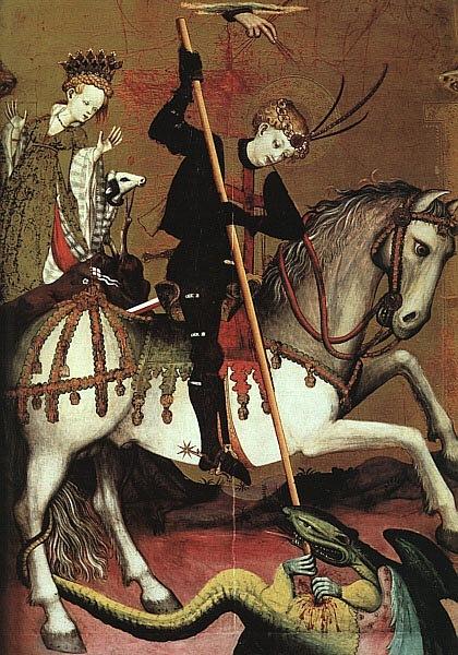 """XV ВЕК. Франция. Андрес Марсаль де Саксе. """"Св. Георгий, убивающий дракона"""", центральная часть альтаря св. Георгия. Около 1400 года"""