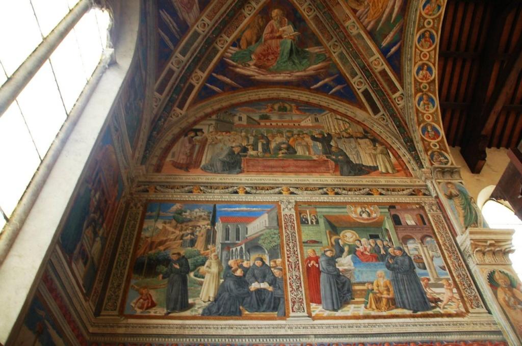 Сан-Джиминьяно, церковь Сант-Агостино.  Гоццоли Беноццо (1420-1497). «Жизнь святого Августина» (1464-1465). Южная стена.