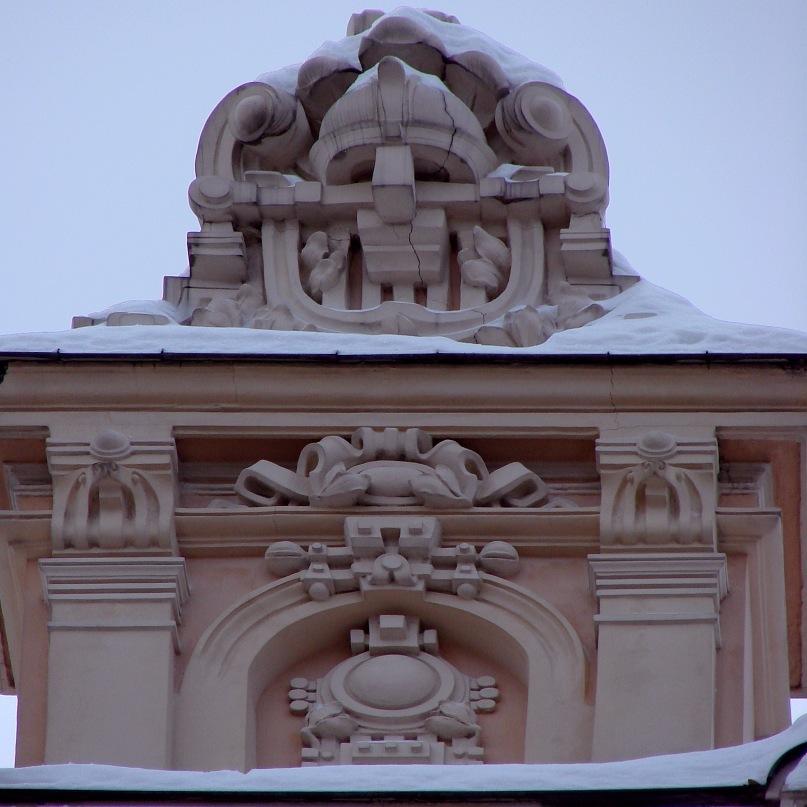 Рига. Доходный дом. Улица Альберта, 13. Арх. М. О. Эйзенштейн. 1904. Завершие фигурного фронтона. Фото Марины Бреслав