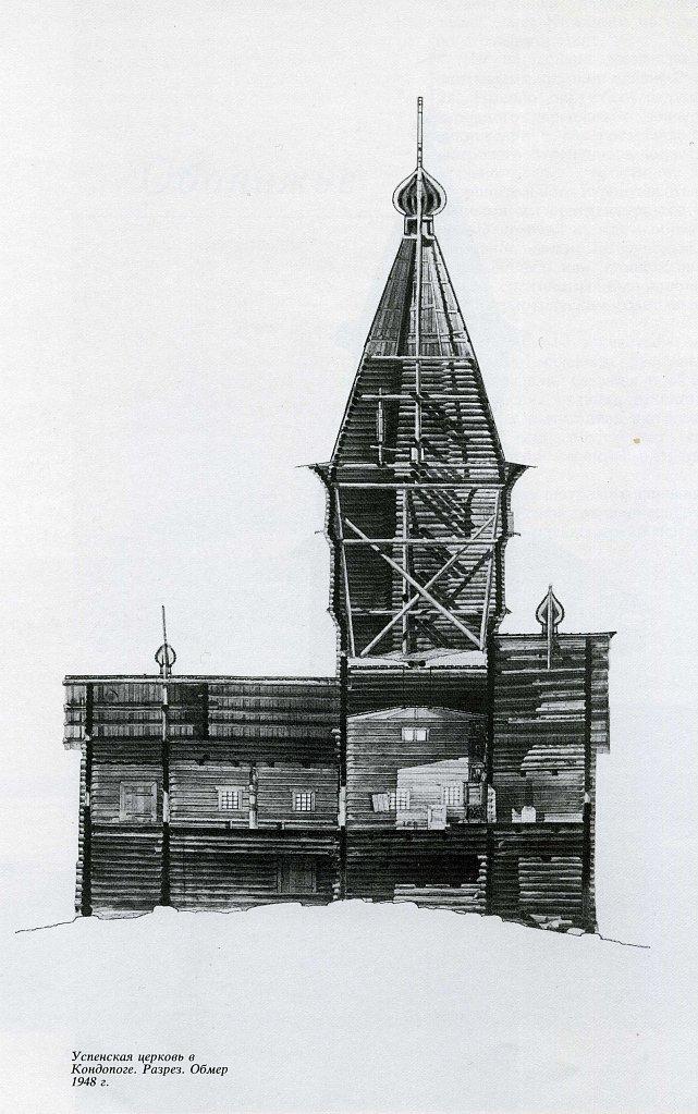 Успенская церковь в Кондопоге. Разрез. Обмер 1948 г.