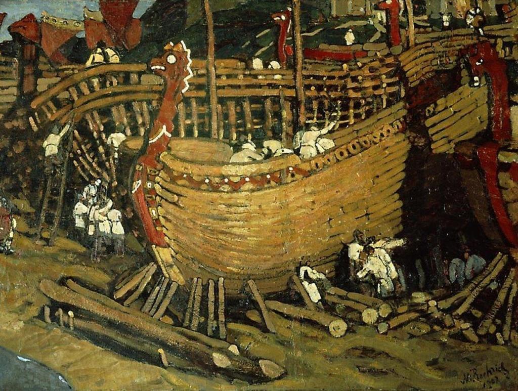 """Н. К. Рерих. """"Корабли строят"""". 1902"""