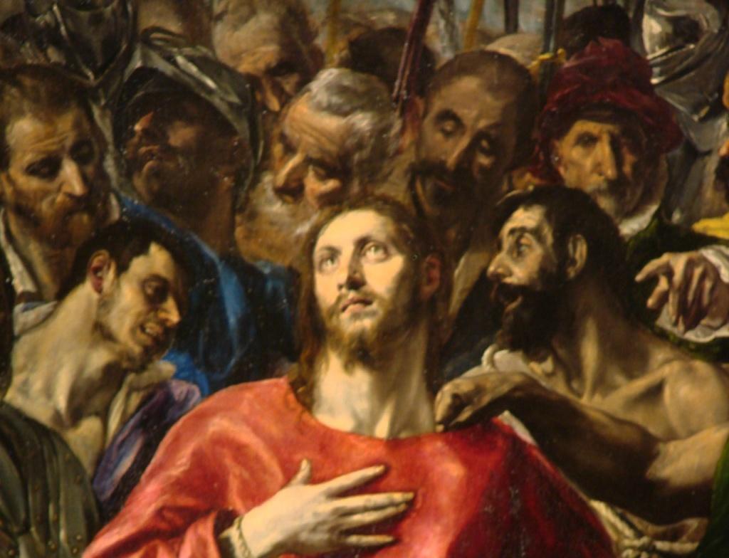 Толедский собор. Ризница. Эль Греко. «Эсполио» («Снятие одежд с Христа»). 1579 год. Среди толпы, сжатые стеной человеческих тел, справа и слева от Христа помещены два разбойника. Их образы в полной мере реальны.