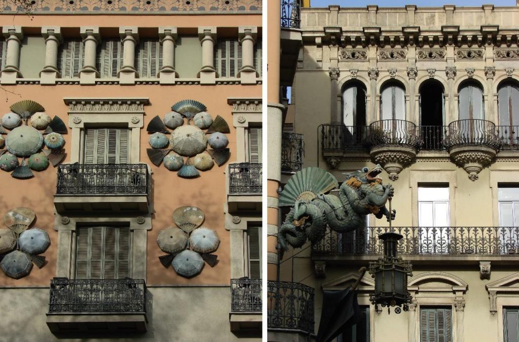 В обиходе здание слева называют просто - «домом с зонтиками». Автор - Жузеп Виласек-и-Касановас. 1883 год.