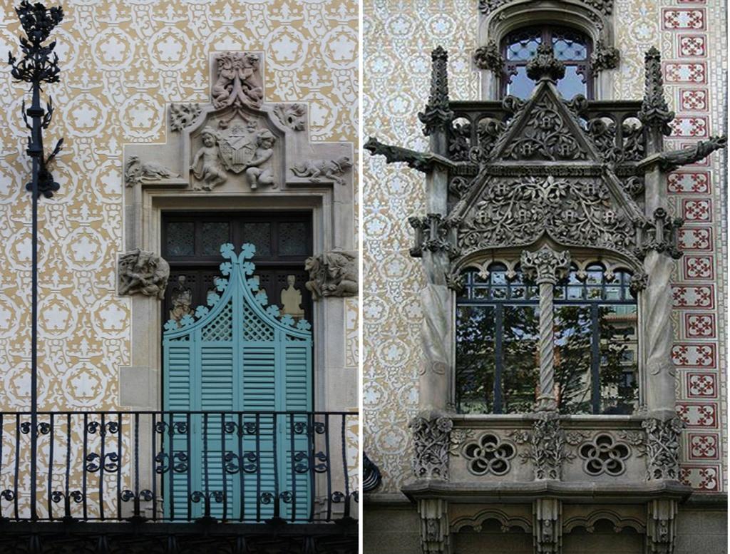 Дом Амалье. Декор сандриков рядовых окон и эркера над главным порталом...